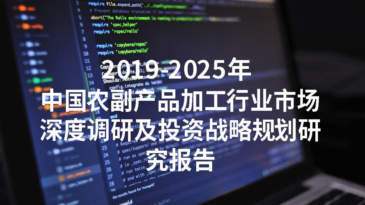 2019-2025年中国农副产品加工行业市场深度调研及投资战略规划研究报告