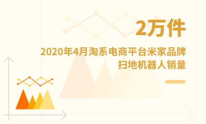 家居行业数据分析:2020年4月淘系电商平台米家品牌扫地机器人销量为2万件