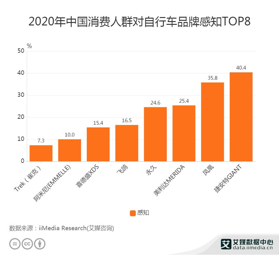 2020年中国消费人群对自行车品牌感知TOP8
