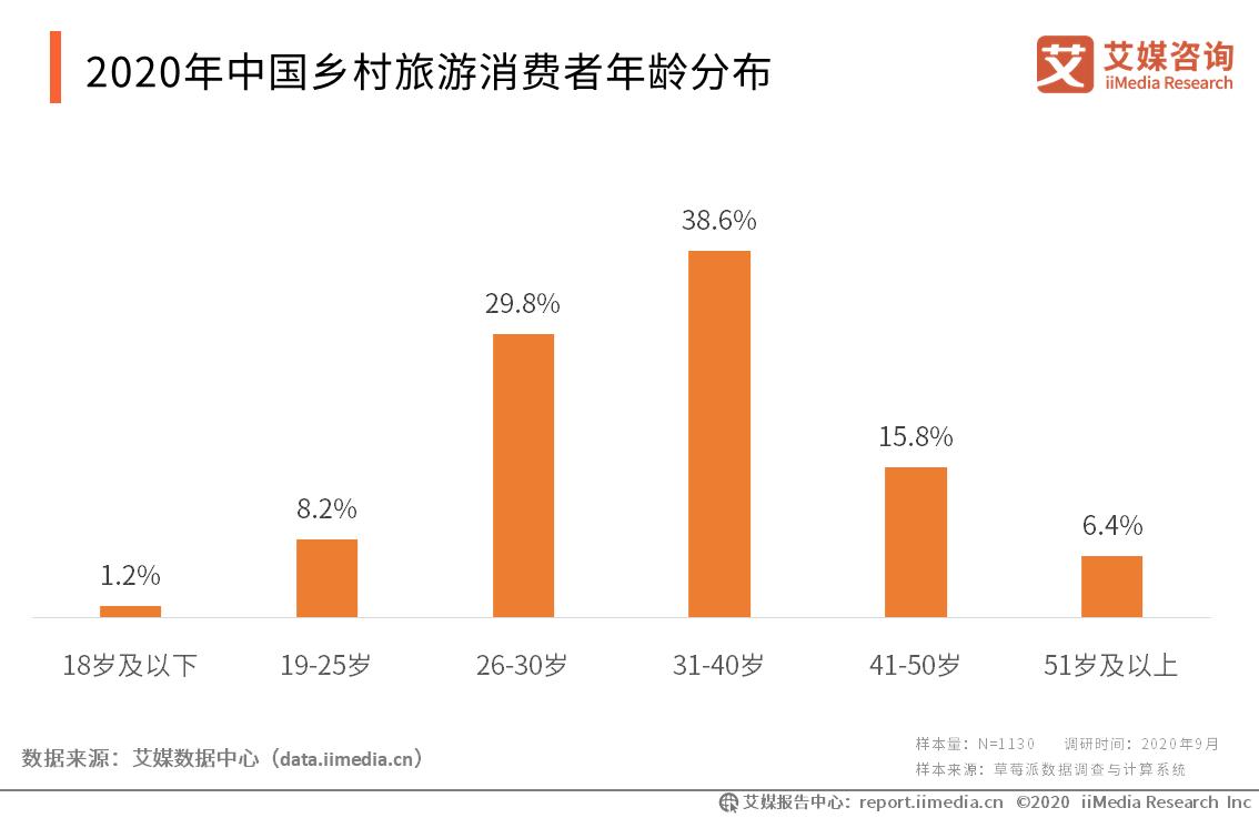 2020年中国乡村旅游消费者年龄分布