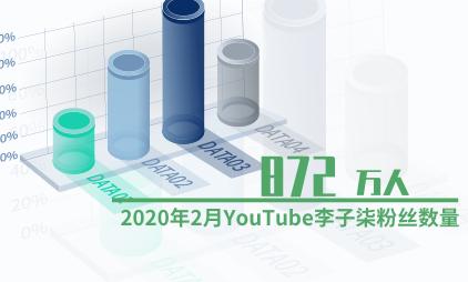 网红经济数据分析:2020年2月YouTube李子柒粉丝数量为872万人