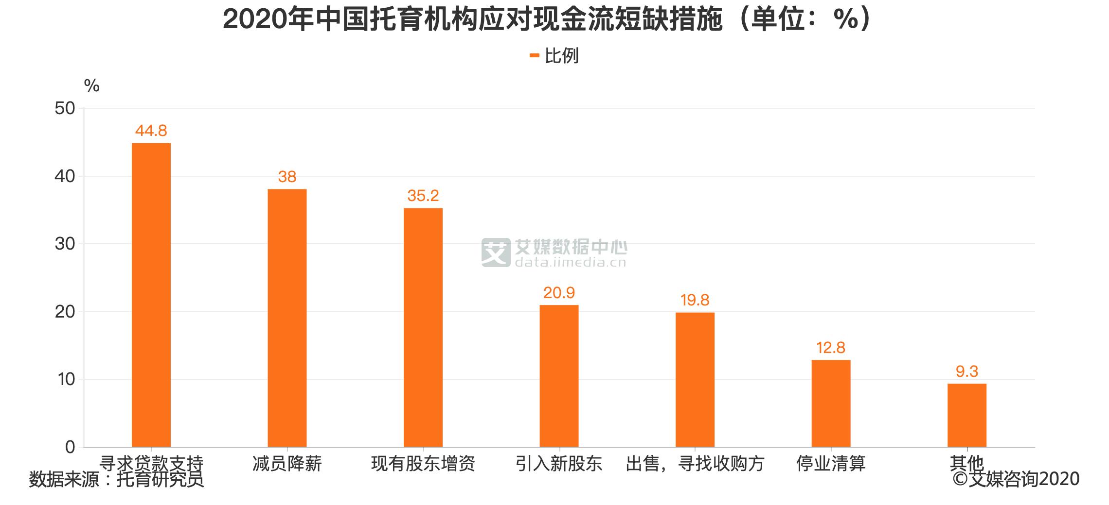 2020年中国托育机构应对现金流短缺措施(单位:%)