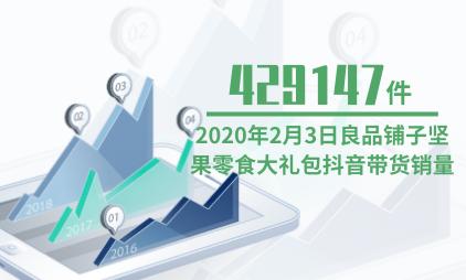 休闲零食行业数据分析:2020年2月3日良品铺子坚果零食大礼包抖音带货销量为429147件