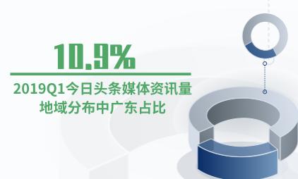 媒体行业数据分析:2019Q1今日头条媒体资讯量地域分布中广东占比10.9%