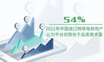跨境电商行业数据分析:2021年中国54%进口跨境电商用户认为平台优势在于品类更丰富