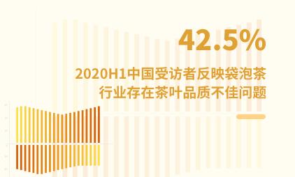 袋泡茶行业数据分析:2020H1中国42.5%受访者反映袋泡茶行业存在茶叶品质不佳问题