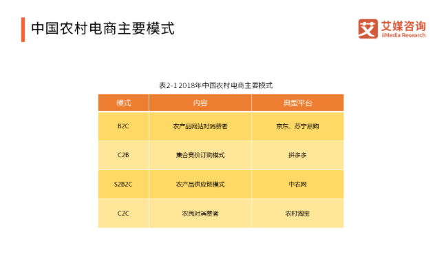 中国农村电商主要模式