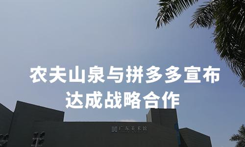农夫山泉与拼多多达成战略合作,官方旗舰店首日成交额达280万元