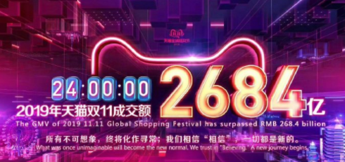 璀璨的双十一落幕:天猫成交额为2684亿元,京东超2044亿元!