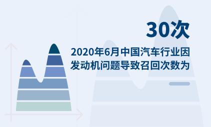 汽车行业数据分析:2020年6月中国汽车行业因发动机问题导致召回次数为30次