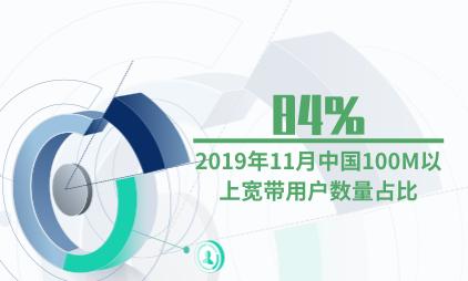电信行业数据分析:2019年11月中国100M以上宽带用户数量占比84%