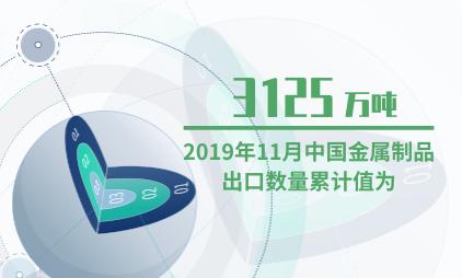 金属制品行业数据分析:2019年11月中国金属制品出口数量累计值为3125万吨