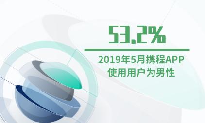 在线旅游行业数据分析:2019年5月53.2%的携程APP使用用户为男性