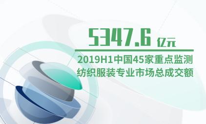 纺织行业数据分析:2019H1中国45家重点监测纺织服装专业市场总成交额为5347.6亿元