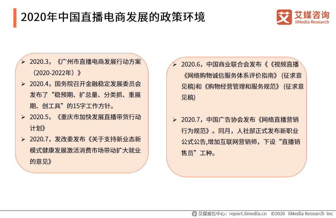 2020年中国直播电商发展的政策环境