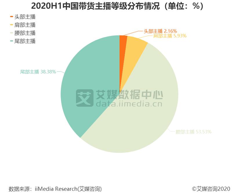 2020H1中国带货主播等级分布情况(单位:%)