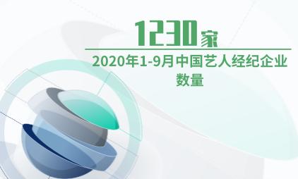 艺人经纪行业数据分析:2020年1-9月中国艺人经纪企业数量为1230家