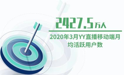 直播行业数据分析:2020年3月YY直播移动端月均活跃用户数为2427.5万人