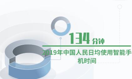手机行业数据分析:2019年中国人民日均使用智能手机时间为134分钟