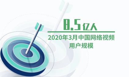 文娱行业数据分析:2020年3月中国网络视频用户规模为8.5亿人