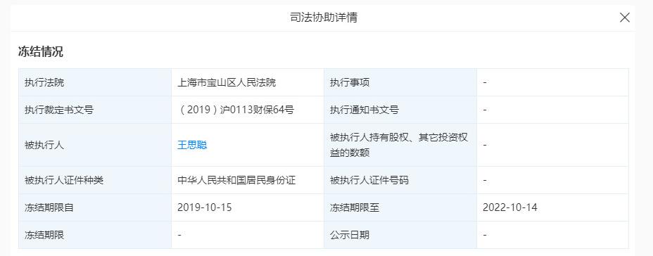 """王思聪普思资本股权遭冻结,当练手的5亿元""""零花钱""""飞了?"""