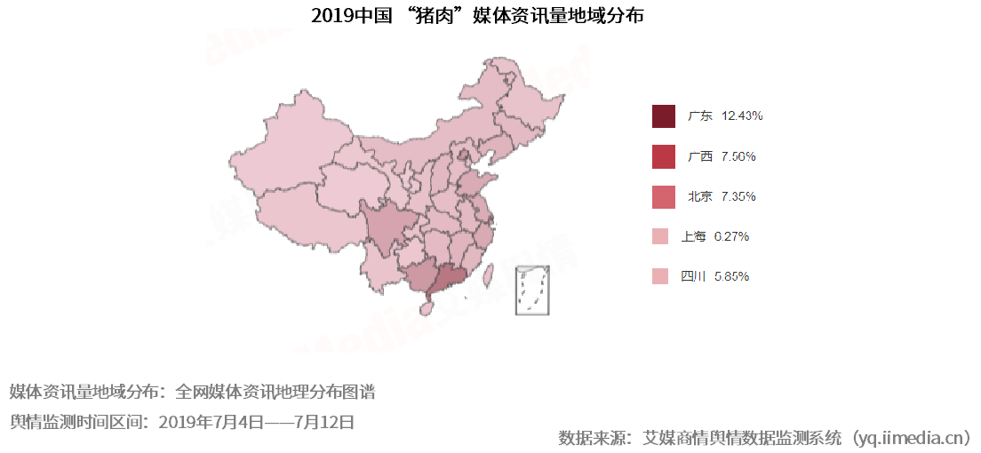 """2019中国""""猪肉""""媒体资讯量地域分布"""