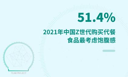 Z世代群体数据分析:2021年中国51.4%Z世代购买代餐食品最考虑饱腹感