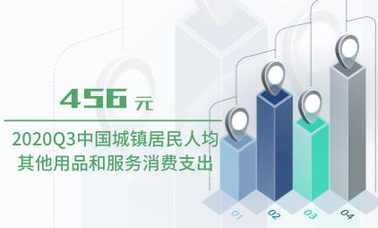 消费行业数据分析:2020Q3中国城镇居民人均其他用品和服务消费支出为456元