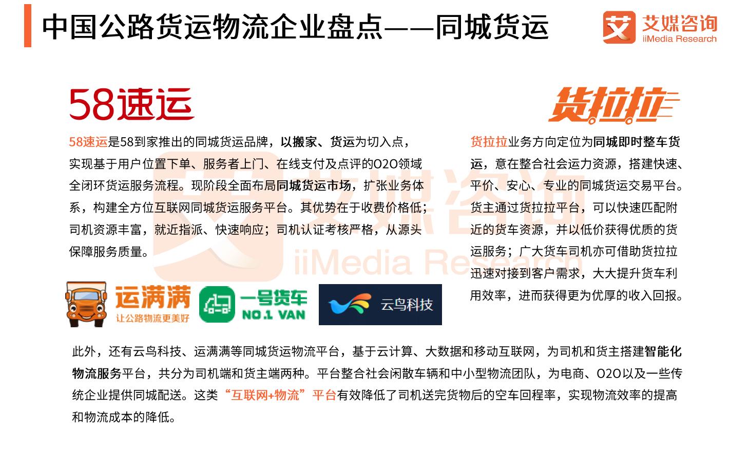 中国公路货运物流企业盘点——同城货运