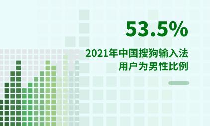 手机输入法行业数据分析:2021年中国搜狗输入法用户53.5%为男性