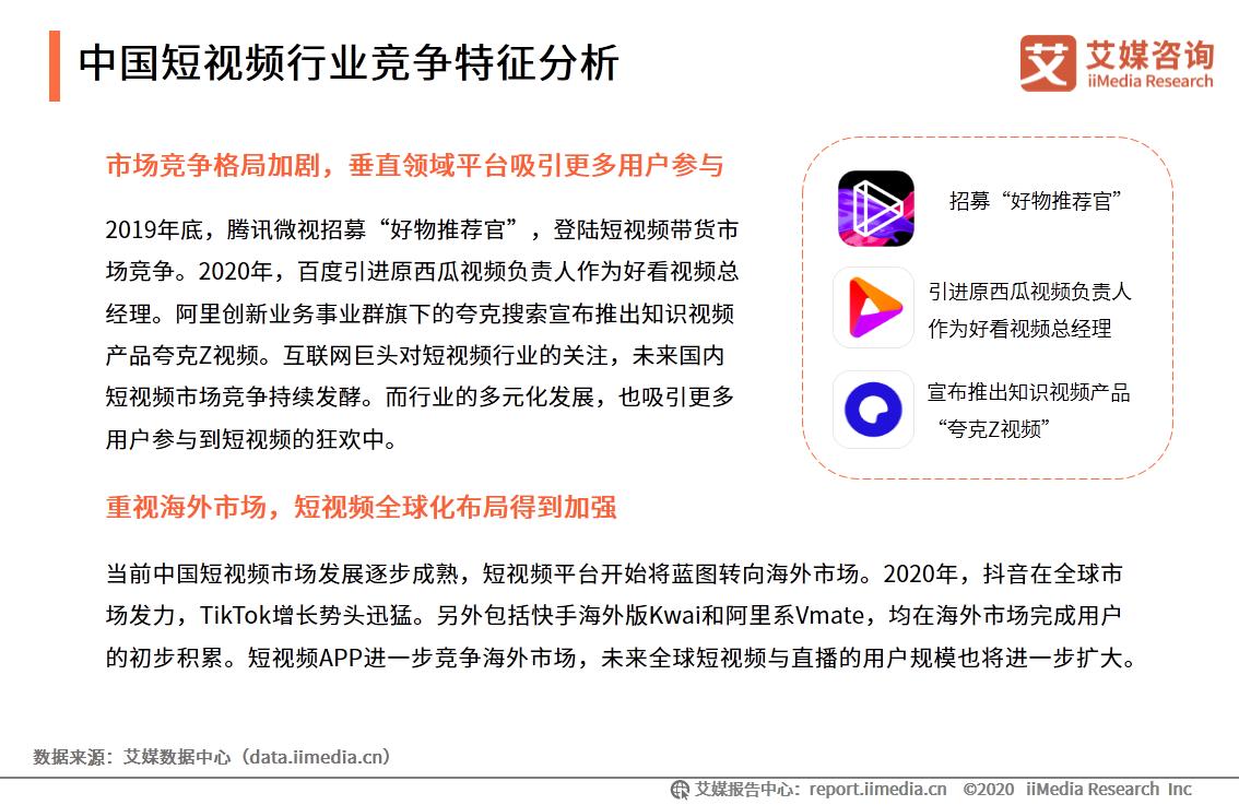 中国短视频行业竞争特征分析