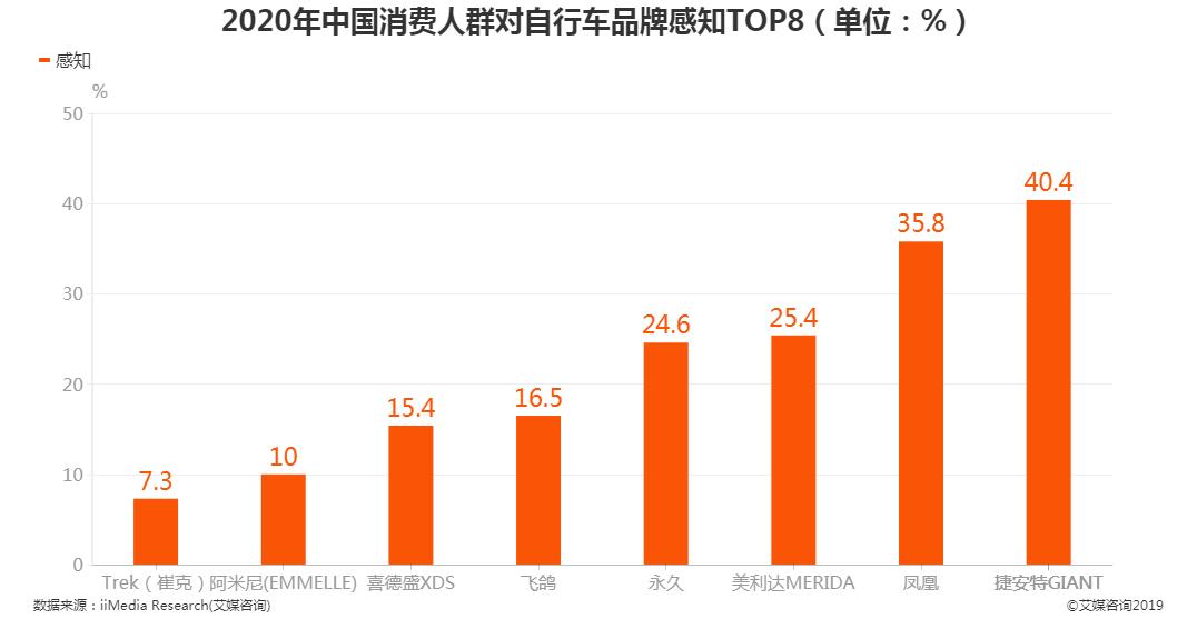 2020年消费人群对自行车品牌感知度TOP8