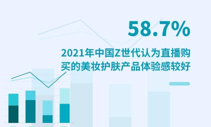 Z世代消费数据分析:2021年中国58.7%Z世代认为直播购买的美妆护肤产品体验感较好